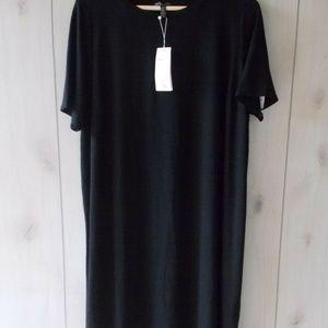 Eileen Fisher Black Viscose Jersey Calf Lngt Dress